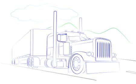 semi truck: Las fotos muestran un cami�n sobre un fondo blanco