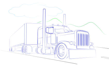 The pictures show a truck on a white background Vector