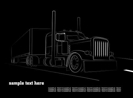 semi truck: on the image the truck against a dark background is presented