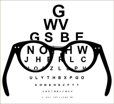 ophthalmology: ophthalmologic table a look through points Illustration