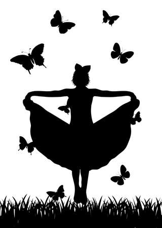 the girl dancing among butterflies Vector
