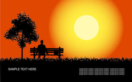 man sitting on a shop in park at sunset Stock Vector - 15888236
