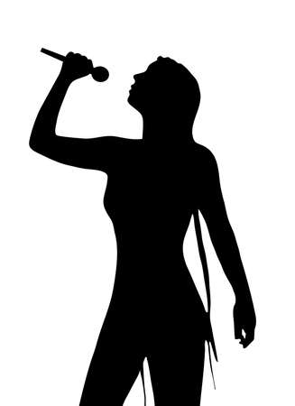 singer with microphone: pop singer Illustration