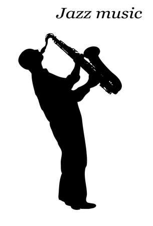musician silhouette: jazz musician Illustration