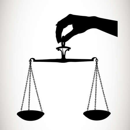 trial balance: escalas silueta de una mano