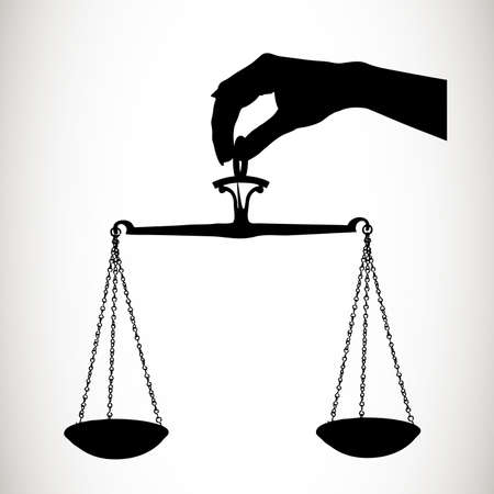 trial balance: silhouette scales in a hand Illustration