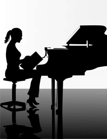 pianist: girl playing the piano Illustration