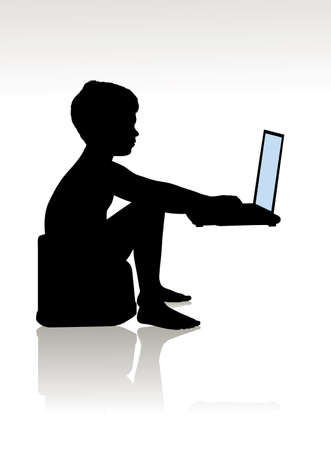 playing video game: child on a pot at the computer