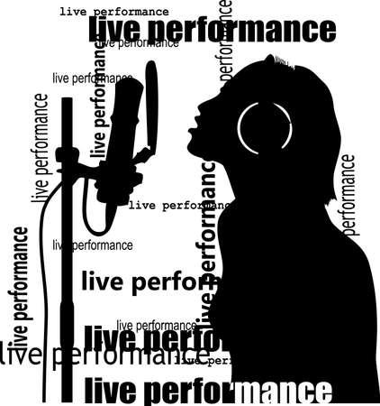 cantando: personas silueta singing Vectores