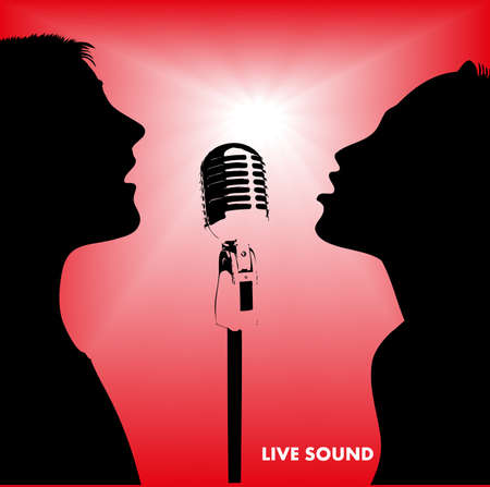 pop singer: silhouette singing people
