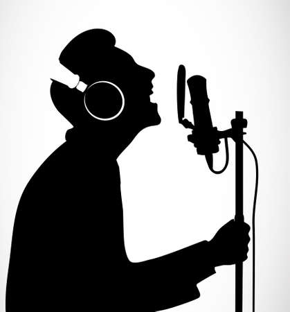 silhouette singing people Vector