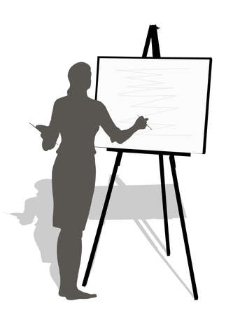 artist painting: silhouette which draws girls