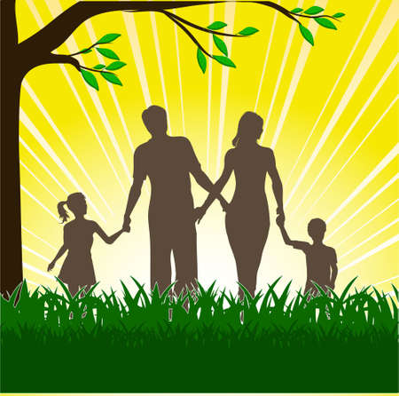 silhouette of happy family Stock Vector - 16007649