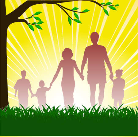 silhouette of happy family Stock Vector - 16007648