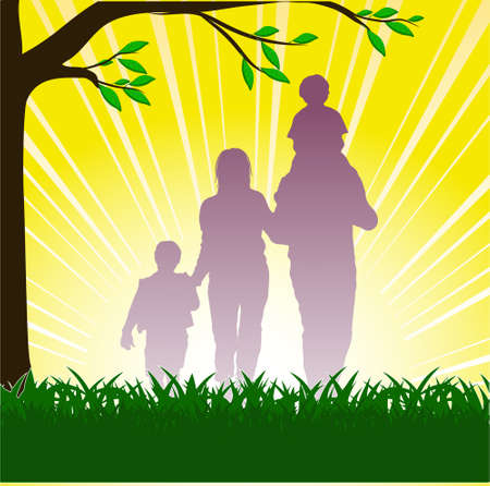 silhouette of happy family Vector