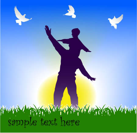 Silhouette father playing with his son Stock Vector - 16007616