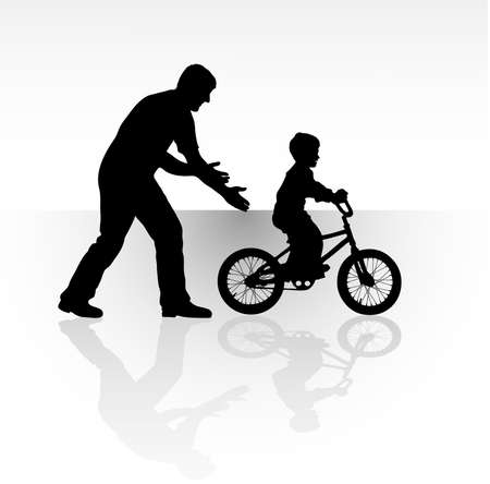 siluettes: Silhouette father playing with his son Illustration