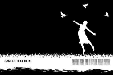 hope symbol of light: the girl among birds
