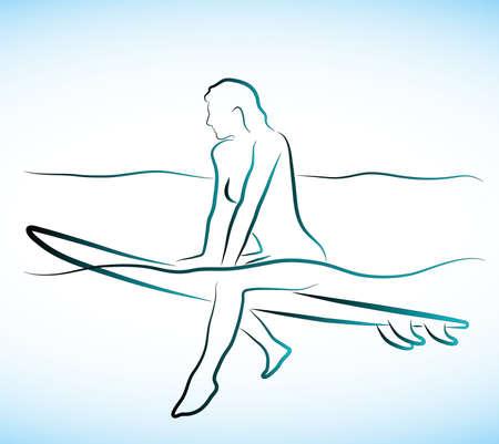 girl on a surfboard Stock Vector - 16007599