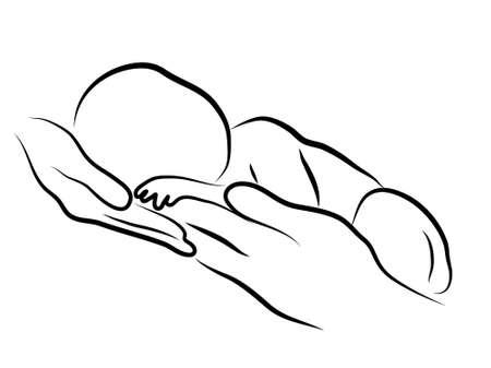 day care: sagoma astratta del bambino con i genitori