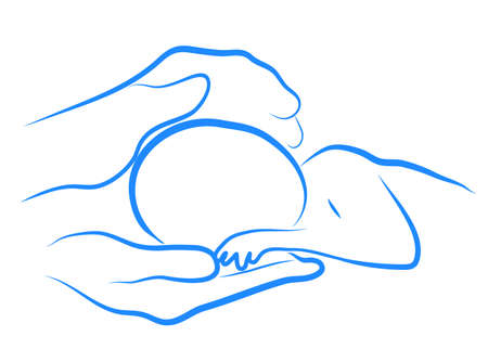 two parent family: abstract circuit caring hands of mother hugging baby Illustration