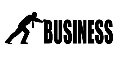 person shined: businessman pushing a word business
