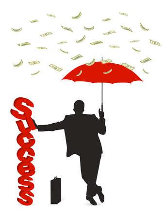 hombre cayendose: persona bajo la lluvia de dinero