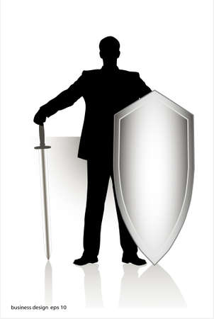 frowning: businessman with the weapon Illustration