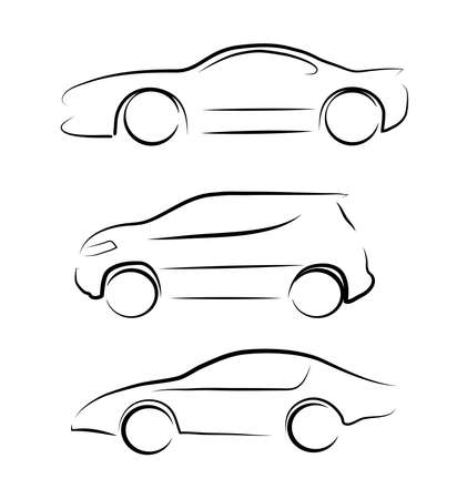 black outline: car silhouette Illustration