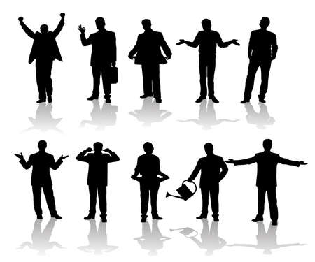 man painting: silhouettes of businessmen