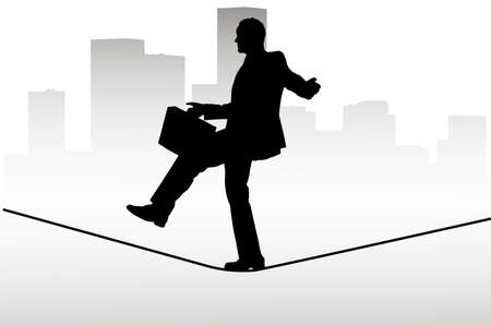 tightrope: Businessman walking on a tightrope