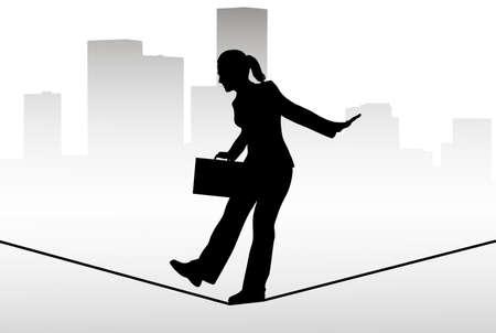 tiptoe: Businessman walking on a tightrope