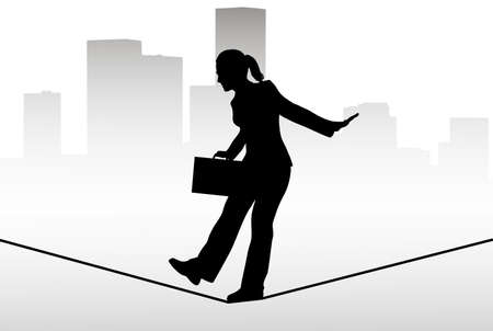tightrope: Zakenman lopen op een koord Stock Illustratie