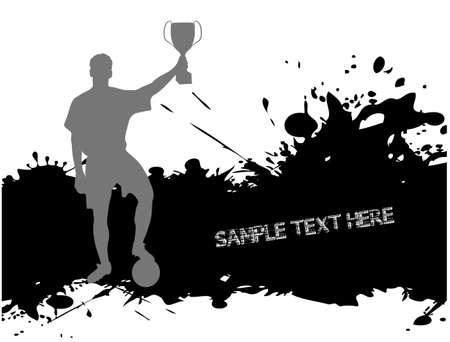 football player with the cup on grunge background Vector