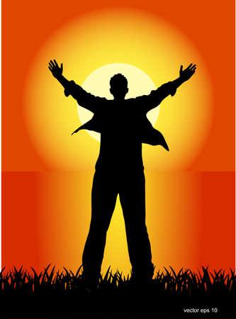 man praying: free person