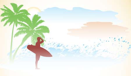 surfer on an ocean coast Stock Vector - 16007514