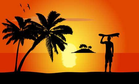 water s: surfer on an ocean coast Illustration