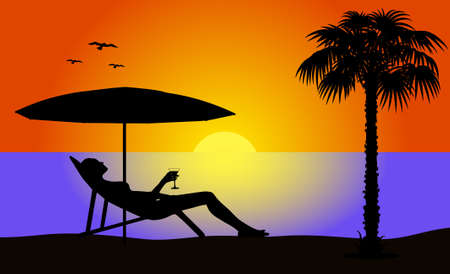 exoticism: evening beach Illustration