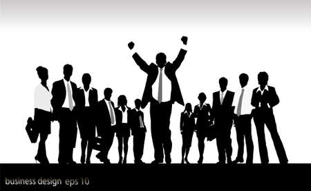 casual business team: silhouettes of businessmen