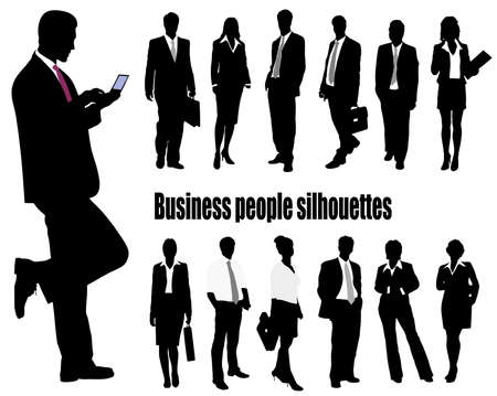 client meeting: silhouettes of businessmen