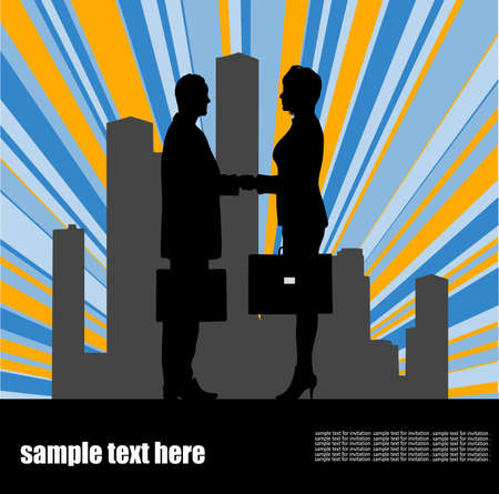 on the image the meeting of two businessmen is presented Stock Vector - 16102998