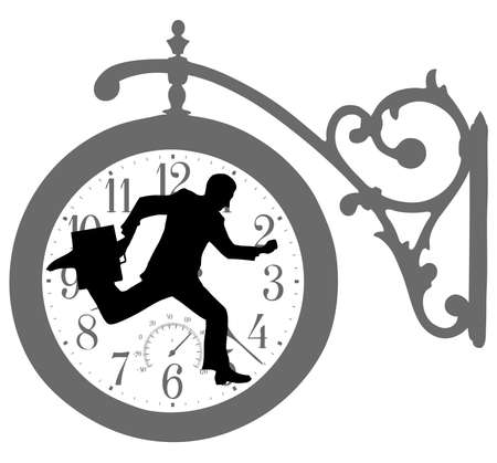 on the image the running businessman is presented Vector