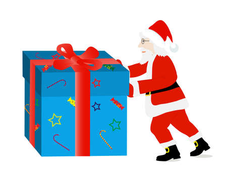 pushes: on the image drawing Santa Claus is presented pushes a gift