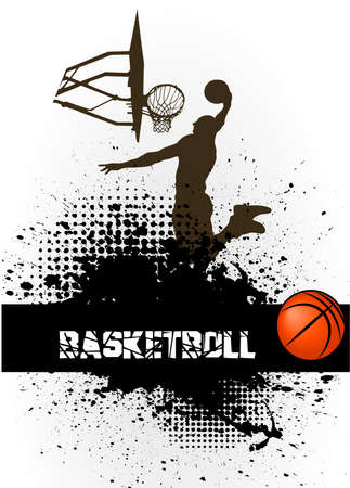 basketball shot: the basketball player against grunge Illustration