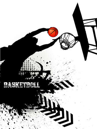 the basketball player against grunge Vector