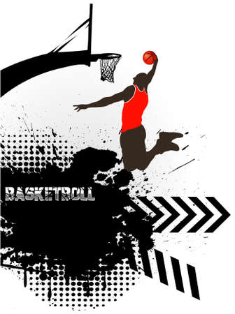the basketball player against grunge Illustration