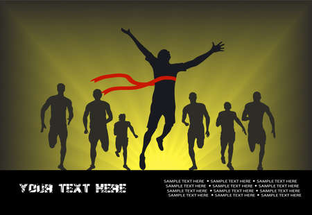 represented: in drawing silhouettes of athletes on the finish are represented
