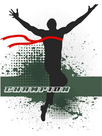 in drawing silhouettes of athletes on the finish are represented