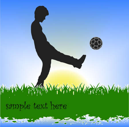 person kicking the ball grunge Stock Vector - 16215158