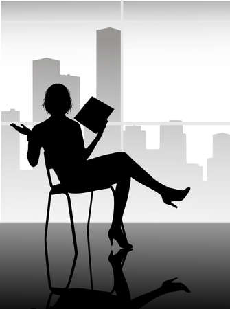 silhouette of the girl with documents Vector